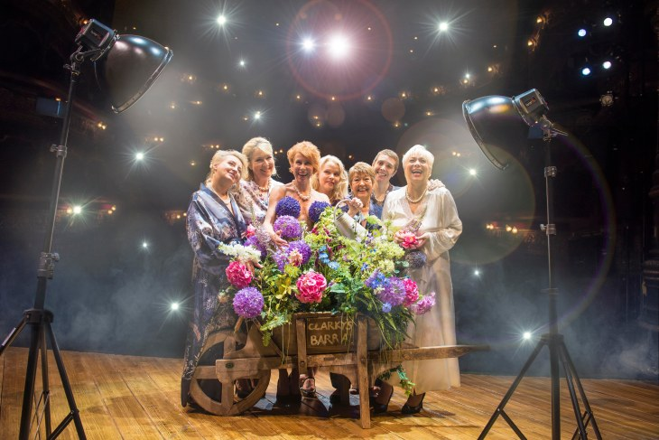LtoR Rebecca Storm, Fern Britton,  Anna-Jane Casey, Sara Crowe, Ruth Madoc, Karen Dunbar & Denise Welch in  CALENDAR GIRLS THE MUSICAL. (C) Matt Crockett.jpg